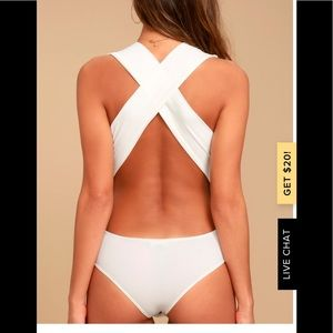 Lulu's Match Point White Body Suit. Size M. NWT